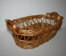 "Rectangle Wicker Basket with Wood Handles 13""L x 9""W x 5""T"