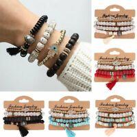 4Pcs/set Men/Women Boho Multi-layer Natural Stone Bangle Bead Bracelet Jewelry