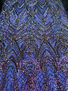 Iridescent Purple 4Way Stretch Sequin Fabric Spandex Mesh Lace-Prom-Gown By Yard