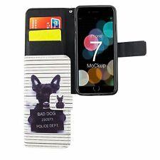 Schutz Hülle für Handy Apple iPhone 8 Böser Hund Weiß Tasche Wallet Case Cover