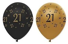 "21ST BIRTHDAY PARTY BLACK GOLD 12"" AGE 21 HELIUM LATEX BALLOONS DECORATION X 6"