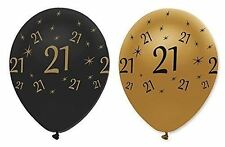 21 Gold Black 6 Balloons 21st Birthday Party Hanging Decorations Adults Air Fun