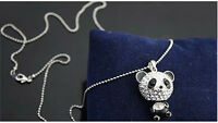 Fashion Women's Delicat Necklace Cute Rhinestone Panda Pendant Necklace Jewelry