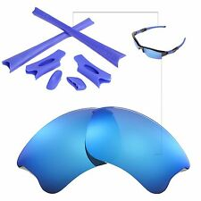 New Walleva Ice Blue Lenses And Rubber Kit For Oakley Flak Jacket XLJ