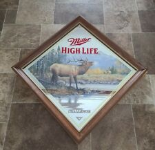 (Vtg) Miller High Life Beer Wildlife Series Diamond Elk Wood Frame Mirror New