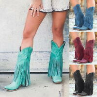 Women Low Heel Boots Fringed Cowboy Motorcycle Boots Shoes Pointed Tassel Shoes