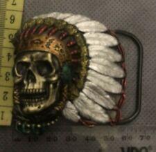 Native American Skull Belt Buckle