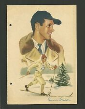 Gunnar Eriksson Skiing Skiier Vintage 1950 Swedish Sports Print Photo Card A