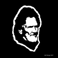 Kris Kristofferson Younger Older Country Music Singer Songwriter Car Decal White