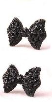 BLACK RHINESTONE BUTTERFLY BOW CRYSTAL STUD EARRINGS FASHION JEWELRY