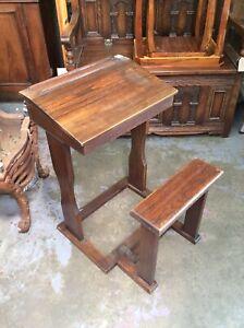 Vintage Oak Childs School Desk With Fold Up Stool