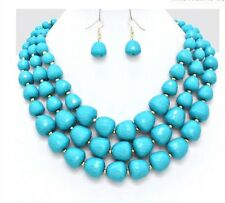 Turquoise Blue Multi Layered Strand Statement Bead Chunky Necklace Earrings Set