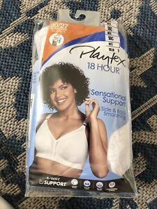 922X04 Playtex 0020 18 Hour Soft Cup Full Coverage Floral Bra 50C White (NWOT)