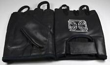 Gants Mitaine cuir brode croix de malte ,biker,custom culture,Harley