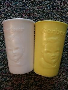 Vintage Yellow/ White Gerber Products Baby Face Infant CUPS  USA 1950s-1960s
