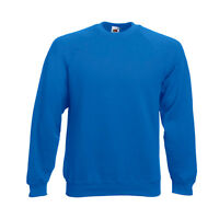 Pull sweat homme manches longues raglan FRUIT OF THE LOOM  COULEUR BLEU ROI