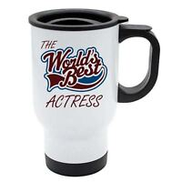 The Worlds Best Actress Thermal Eco Travel Mug - White Stainless Steel
