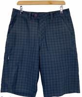 Hurley Mens Grey Check Long Cargo Shorts W32 L12.5