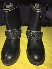 ASH Rebel Motorcycle Womens Boots Black Leather Size 6 Us