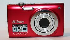 NIKON COOLPIX S2550 12.0 MP DIGITAL CAMERA - FAULTY - RED - 1425