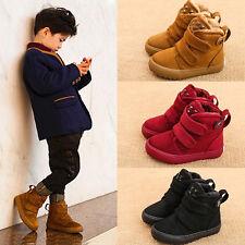 Winter snow warm Fur Lined Kids Girls boys Rock rivet Fastening Tape Ankle boots