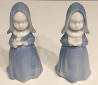 "VINTAGE LEGO JAPAN Blue & White Porcelain Praying Nun Figurines LOT OF 2   3.5"""