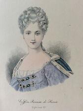 Rare gravure sur acier rehaussée Coiffure Louis XV E Nissy Princesse de Savoie