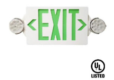 LED GREEN Exit Sign Emergency Light–Hi Output Compact Combo UL listed