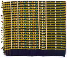 Vtg Silk Fabric Green & Black Striped Shiny Floral Print Sewing Scrap 5.5 Yds