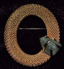 Gold Tone Mesh Oval Brooch with Marbled Green Stone Pin Closure at Back