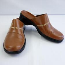 Clarks Brown Leather Clogs Mules Embroidered Detail Womens Sz 9M