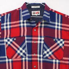ARROW SPORT Vtg 80s Red White Blue Plaid L/S Flannel Btn Shirt Men's XL