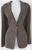 Womens Max Mara Black Tweed Virgin Wool Pockets Single Breasted Jacket Blazer 10