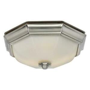 Hunter Decorative Brushed Nickel Bathroom Exhaust Ventilation Fan 2 LED Light