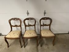 Set Of 3 Carved Victorian Style rose chairs with needlepoint rose seat