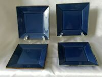 4 lot set Pottery Barn Japan ASIAN SQUARE BLUE dessert pie bread plate 6""