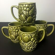 Coffee Mugs Set Of 3 Avocado Green Ceramic Fruit Design - 1 broke when boxing :(