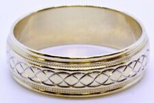 14K Solid Yellow Gold 6mm Milgrain Accented Twist Knot Wedding Band Ring sz 6.5