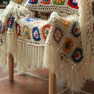 60X120cm Daisy Plaid Granny Blanket With Tassel Crochet Chevron Ripple Chunky1Pc