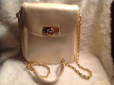 Lord & Taylor vintage off white patent leather chain strap Crossbody purse