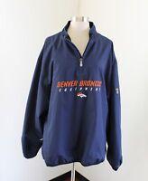 Denver Broncos NFL Reebok Equipment Mens Blue Pullover Windbreaker Jacket Size L