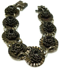 """ANTIQUE OLD MEXICO SILVER MEXICAN STERLING SILVER HAND MADE FLOWER BRACELET 7.5"""""""