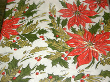 Vintage Sealed Beach Crepe Paper Tablecloth Cover Christmas Poinsettas Nos Mcm