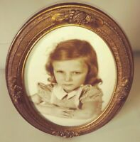 Antique B&W photo Little Girl with oval convex bubble glass wood frame art deco