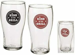 King of the Grill Beer Glass Tulip Plain Beer Pint Glass 20oz (56cl) Pack of 4,2