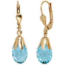 Boutons Tropfen 333 Gold Gelbgold 2 Blautopase hellblau blau Ohrringe Ohrhänger
