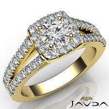 Halo Round Diamond Engagement Prong Set Ring GIA H VS2 18k Yellow Gold 1.47Ct