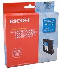 Ricoh GENUINE GC 21C CYAN Ink/Liquid GEL Cartridge Aficio GX7000 GC21C *NEW*
