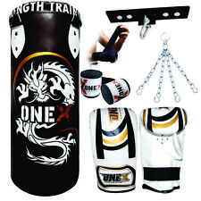 Boxing Set 3ft Filled Heavy Punch Bag Fighting Professional Training Fitness MMA
