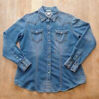 Ariat Bufford Denim Long Sleeve Classic Western  Snap Button Shirt Womens Sz XL